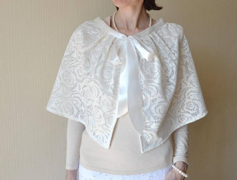 Bridal cover up Bridal cape women Shrug Bridal wrap Wedding image 1