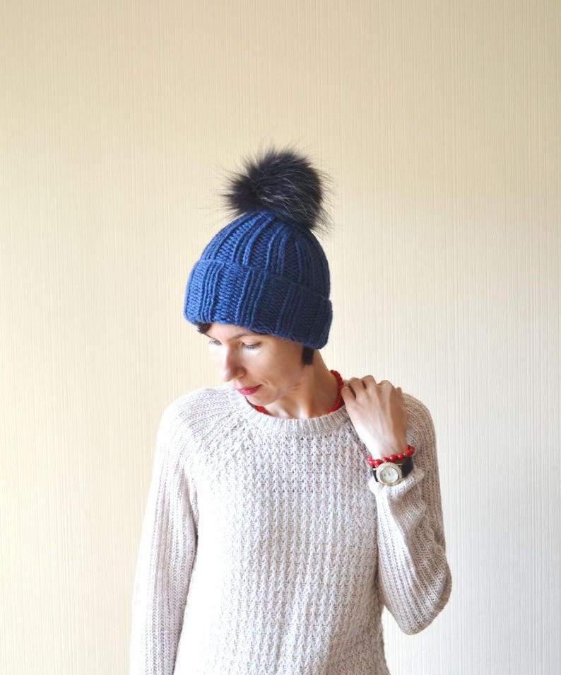 winter hat womens knitted hat fur pom pom hat outdoors gift image 0