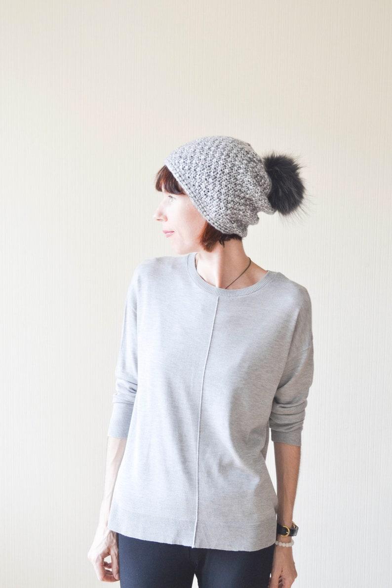 466199537e3 Womens winter hats Gray knit hat Slouchy beanie women Pom pom