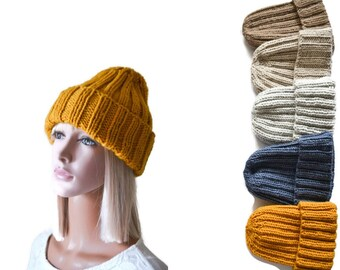 Mustard Yellow Chunky Beanie Ribbed Knitted Hat for Women