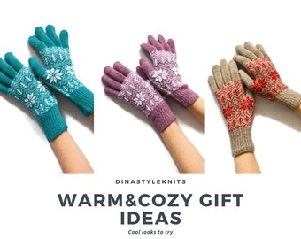 Full finger gloves knit Fair isle patterned gloves Winter knit gloves Acrylic arm warmers