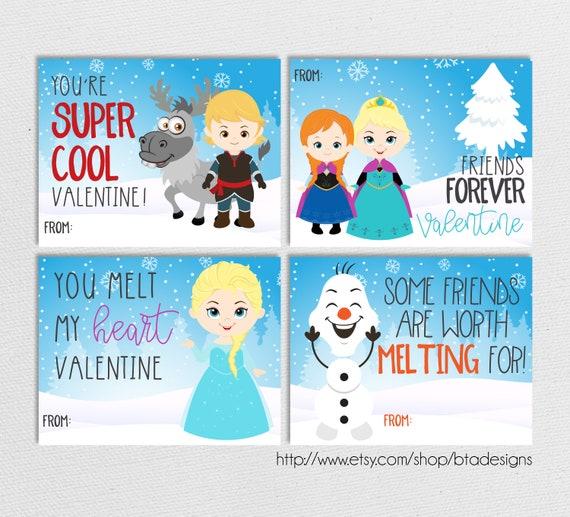 Printable Frozen Valentine Cards // Instant Download