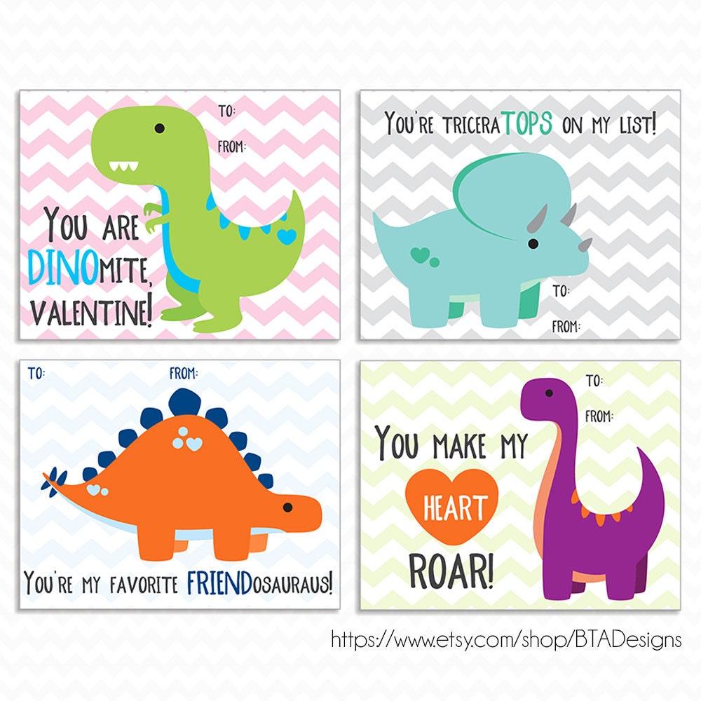Printable Dinosaur Valentine Cards Instant Download
