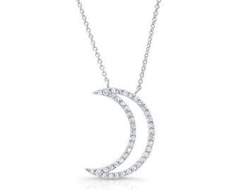 Zarten Mond-Collier-Set mit Diamanten auf 14K White Gold