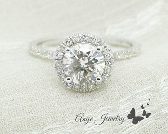 1.25 Ct. Round Cut Halo Diamond Engagement Ring on 14K White Gold
