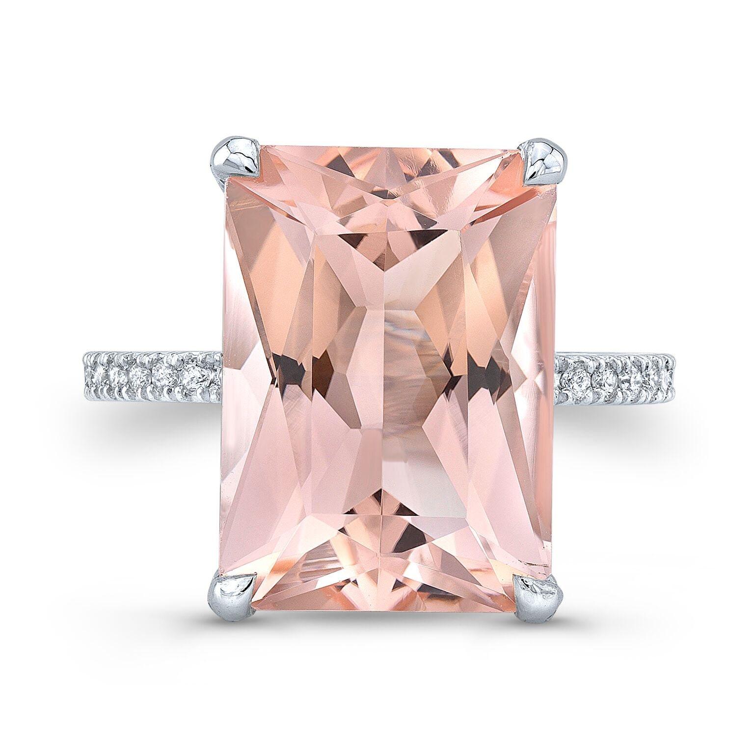 ADELE 6.00ct. Emerald Cut Morganite Engagement Ring   Etsy