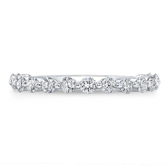 680372aad7245 NADIA BAND 0.70 Ct. Round Cut Diamond Bubble Wedding or Stacking Band on  14K White Gold