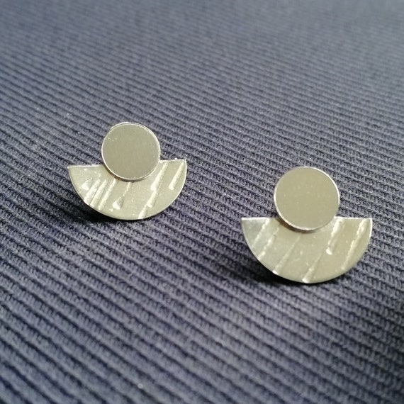 Sterling Silver stud double earrings / ear jackets with polished stud and textured half-circle back piece