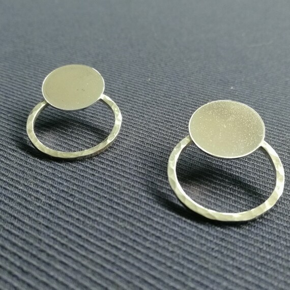 Sterling Silver large disc studs ear jacket with hammered ring back double earring