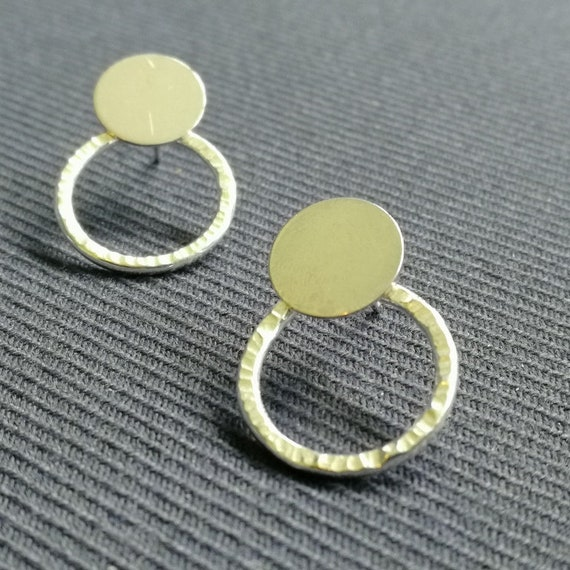 Sterling Silver polished stud ear jacket with hammered medium circular back piece double earring