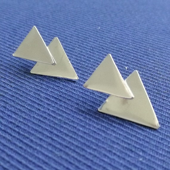 Sterling Silver highly polished triangle stud ear jacket and triangular back piece double earring