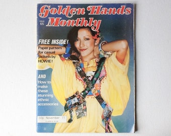 Vintage Golden Hands Monthly Magazine, Includes Paper Sewing Pattern for Paul Howie Jacket, Craft Magazine,  Issue 65, November 1977, 01023