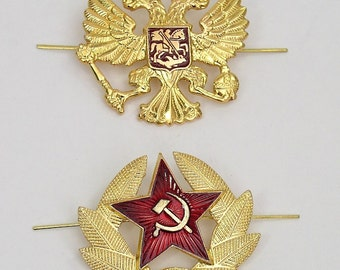 Russian Soviet Hat Pin Badges USSR Red Army Star Double Headed Eagle Set Of 2