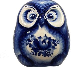 GZHEL RUSSIAN Porcelain Figurine OWL #0116.21