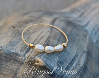 FREE SHIPPING Gold pearl ring, freshwater pearl, 24K gold ring, unique gold stack, stacking ring, thin gold ring, pearl ring, pearl, gold