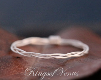 Braided Ring, Sterling Silver Plated, Delicate Stacking Ring, Thin Silver Ring, Delicate Ring Braid Ring, Stack Ring, Thin Ring, Simple