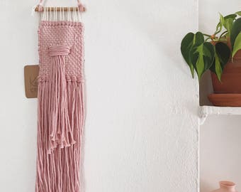 Mini Weaving - mauve woven wall hanging