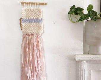 Mini Weaving - cream, light blue, pink woven wall hanging