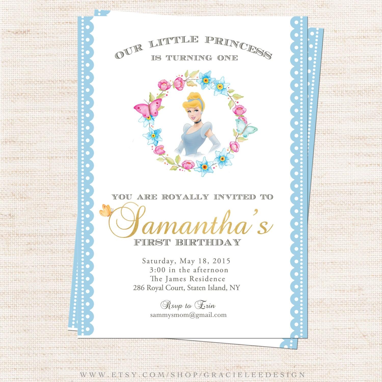 Cinderella Birthday Party Invitation Cinderella Butterfly | Etsy