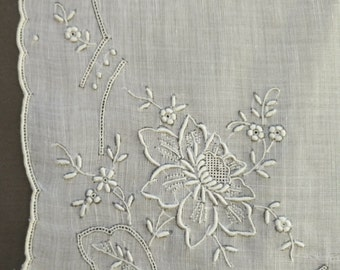 Antique hanky embroidered very fine linen scalloped hem Wedding Bridal something old