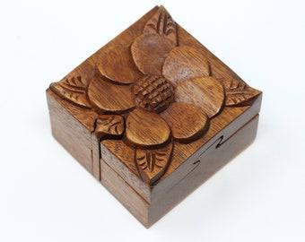 Holly Gift Boxes Hand Made Nature art design Small  Puzzle box and treasure box.