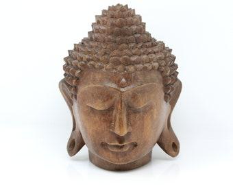 Lucky Buddha Head Statue Wood Wooden Religious Figurine Small Mahogany CS