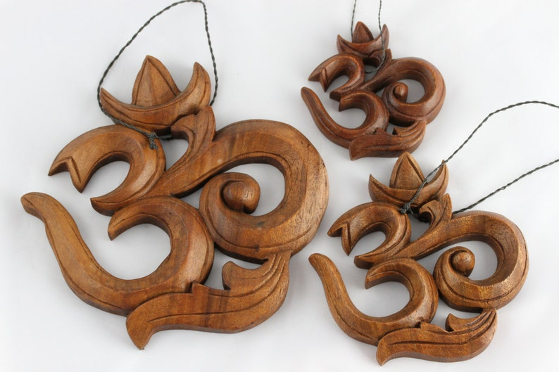 Om Wall Hanging Hand Carved Wooden Om Hanging Choose From 3 Sizes Small Medium Or Large Om Wood Carving Yogi Gift Aum Wall Art