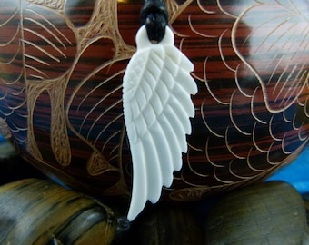 Angel Wing Necklace - Carved Angel Feather Necklace - Carved Yoga Jewelry - Meditation intention necklace - White wing necklace - X012