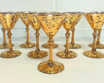 Gold Splatter Martini Glasses Gold Speckled Cocktail Glasses Gold Flecked Glasses SET OF 10 Hollywood Regency Mid Century Modern Barware