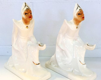 Ceramic Aladdin Genie Statues Pair of Figurines Kipp Ceramics Pasadena California Pottery Mid Century Decor Hollywood Regency Arabian Nights