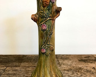 Weller Ware Pottery Woodcraft Tree Trunk Vase Leaves Apples Bud Vase
