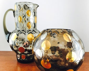 Borske Sklo Nemo Bohemia Crystal Glass Pitcher and Rose Bowl Vase Max Kannegiesser Czech Glass Bohemian Glass Coindot Glass Thumbprint Glass