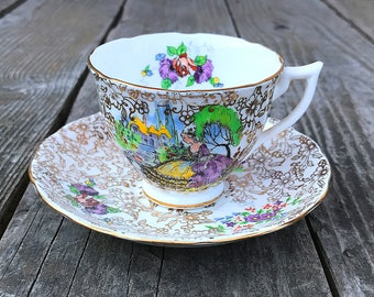 Melba Bone China Tea Cup and Saucer Set Vintage Tea Party Marie Antoinette Lady in Crinoline Skirt