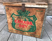 Canada Dry Wooden Crate Rustic Wood Box Vintage Advertising Ginger Ale Soda 1959