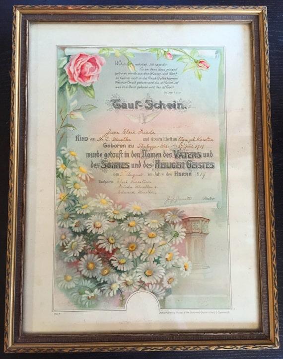 baptism certificate antique frame 1910s baptismal vintage tauf etsy