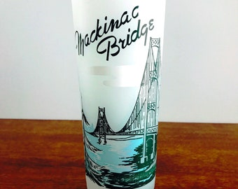 Mackinac Bridge Souvenir Glass Frosted Glass Michigan Keepsake Tumbler