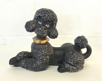 Black Poodle Statue Dog Figurine Ceramic Hand Painted Vintage Kitsch Dog Lover Gift Poodle Lover Gift