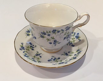 Vintage Queen Anne Sonata Bone China Cup and Saucer Set England Blue Flowers Tea Party