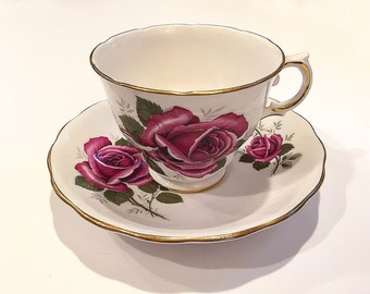 Vintage Royal Kent Bone China Cup and Saucer Set Staffordshire England Roses Flowers Tea Party