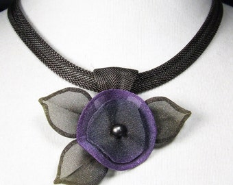Handmade Mesh Pansy Necklace by Sarah Cavender