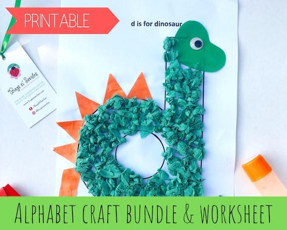 Alphabet Worksheets For Preschoolers Alphabet Crafts For Etsy