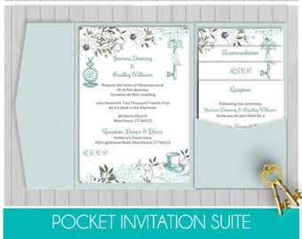 pocket wedding invitation template set instant download etsy