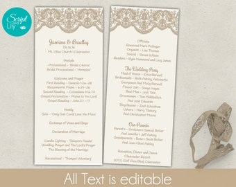 lace wedding program template double sided free color change easy to edit vintage gold ivory word or pages pc mac 4x92