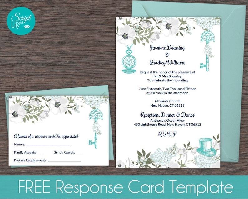Teal White Alice In Wonderland Invitation Template Free Response Card Editable Text Instant Download Diy Word Pages Pc Mac