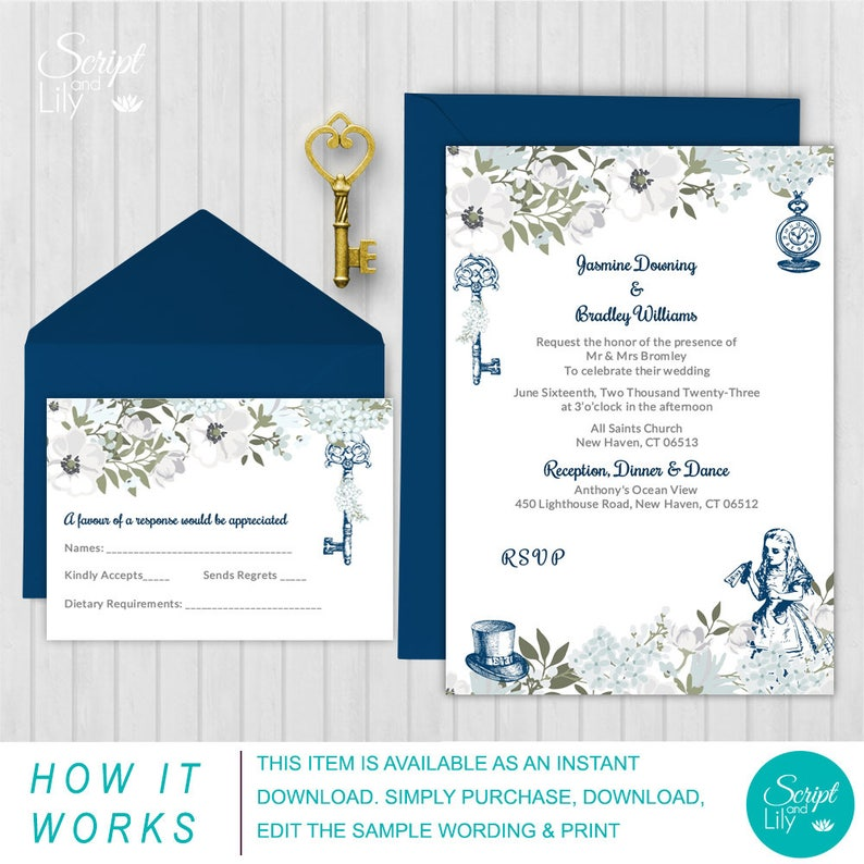 Elegant Alice In Wonderland Invitation Template Free Rsvp Card Navy Blue Edit Text Instant Download Diy Word Pages Pc Mac