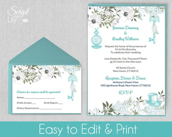 Turquoise Aqua Alice In Wonderland Invitation Template Free Response Card Editable Text Instant Download Diy Word Pages Pc Mac