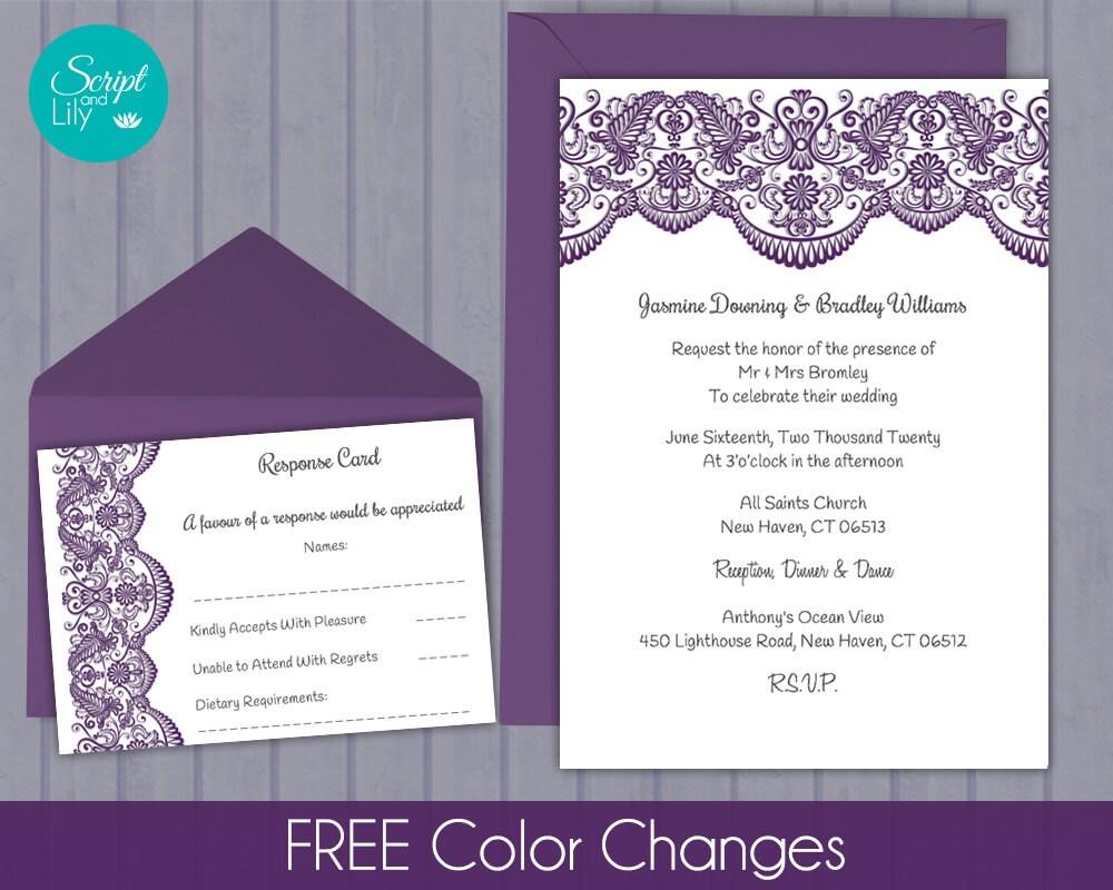 Lace Wedding Invitation Template: Lace Wedding Invitation Template FREE Response Card