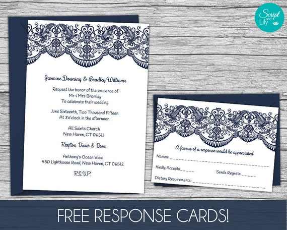 lace wedding invitation template free response card template etsy