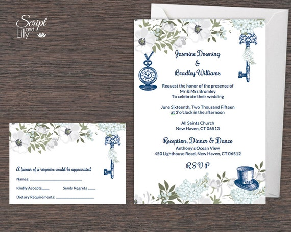 Navy White Alice In Wonderland Invitation Template Free Response Card Edit Text And Print Instand Download Word Pc Mac