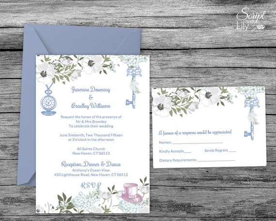 White Blue Alice In Wonderland Invitation Template Free Etsy